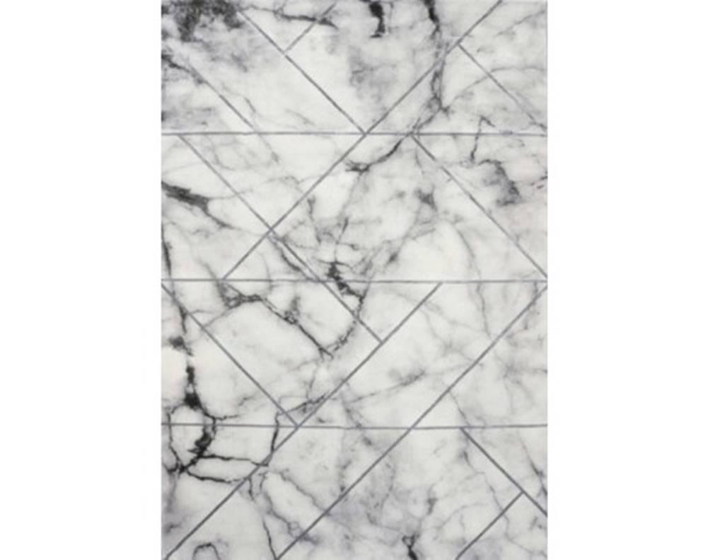 ASKO - NÁBYTOK Koberec Craft 80x150 cm, mramorový dizajn, šedo-strieborný%